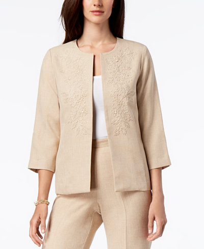 Alfred Dunner Petite La Dolce Vita Collarless Embroidered Jacket