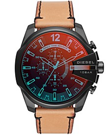 Men's Chronograph Mega Chief Brown Leather Strap Watch 51mm