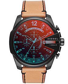 Diesel Men's Chronograph Mega Chief Brown Leather Strap Watch 51mm