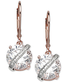 Giani Bernini Cubic Zirconia Wrapped Drop Earrings in 18k Rose Gold-Plated Sterling Silver, Created for Macy's