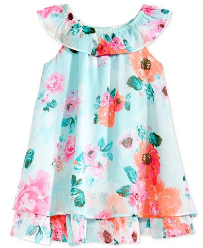 Blueberi Boulevard Floral-Print Chiffon Dress, Baby Girls