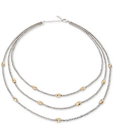 "Giani Bernini Two-Tone Beaded Three-Layer Necklace in Sterling Silver & 18k Gold-Plate, 16"" + 2"" extender, Created for Macy's"