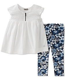 Calvin Klein 2-Pc. Tunic & Floral-Print Leggings Set, Baby Girls