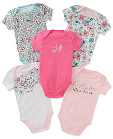 Calvin Klein 5-Pack Graphic-Print Bodysuits, Baby Girls