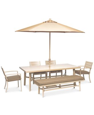 "Beach House Outdoor 6-Pc. Dining Set (84"" x 42"" Dining Table, 4 Dining Chairs and 1 Bench), with Sunbrella® Cushions, Created for Macy's"