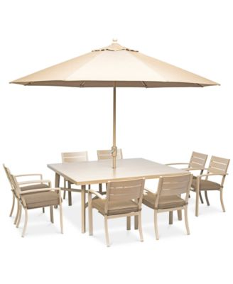 "Beach House Outdoor 9-Pc. Dining Set (68"" Square Dining Table and 8 Dining Chairs), with Sunbrella® Cushions, Created for Macy's"
