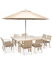 """Beach House Outdoor 9-Pc. Dining Set (68"""" Square Dining Table and 8 Dining Chairs), with Sunbrella® Cushions, Created for Macy's"""