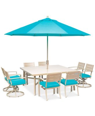 "Beach House Outdoor 9-Pc. Dining Set (68"" Square Table, 4 Dining Chairs and 4 Swivel Rockers)with Sunbrella® Cushions, Created for Macy'"