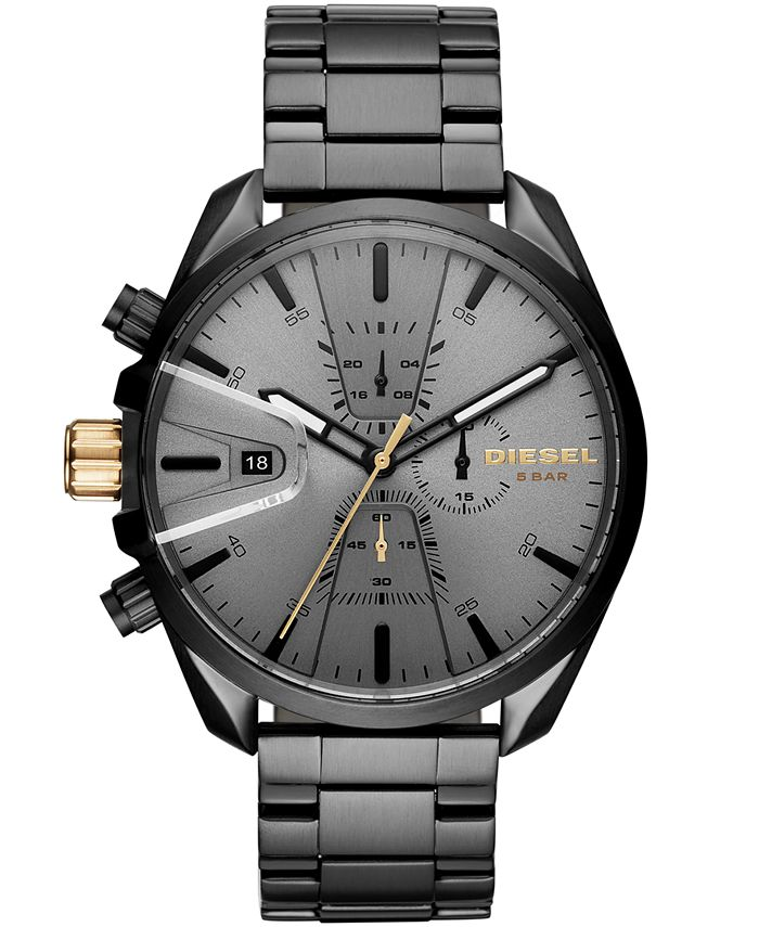Diesel - Men's Chronograph MS9 Chrono Black Stainless Steel Bracelet Watch 47mm
