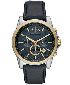 A|X Armani Exchange Men's Chronograph Blue Leather Strap Watch 44mm