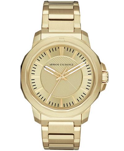 A|X Armani Exchange Men's Gold-Tone Stainless Steel Bracelet Watch 44mm