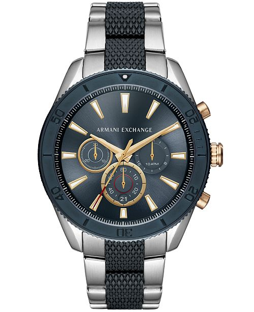 A|X Men's Chronograph Two-Tone Stainless Steel Bracelet Watch 46mm