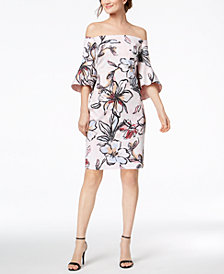 Laundry by Shelli Segal Off-The-Shoulder Floral-Printed Jacquard Dress