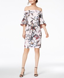 Laundry By Shelli Segal Off The Shoulder Printed Jacquard Dress