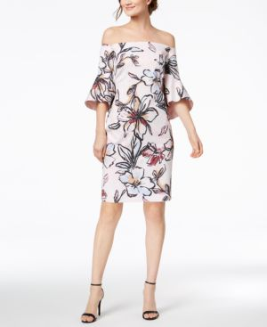 Laundry by Shelli Segal Off-The-Shoulder Floral-Printed Jacquard Dress 5695444