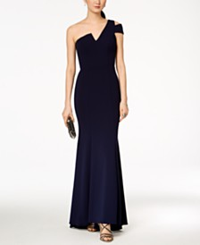 8e4375265f6 Betsy   Adam One-Shoulder A-Line Gown