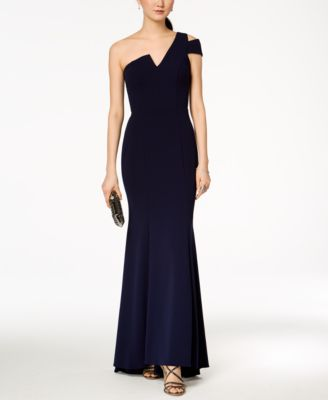 Betsy U0026 Adam One Shoulder A Line Gown