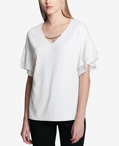 Calvin Klein Hardware Ruffle-Sleeve Top