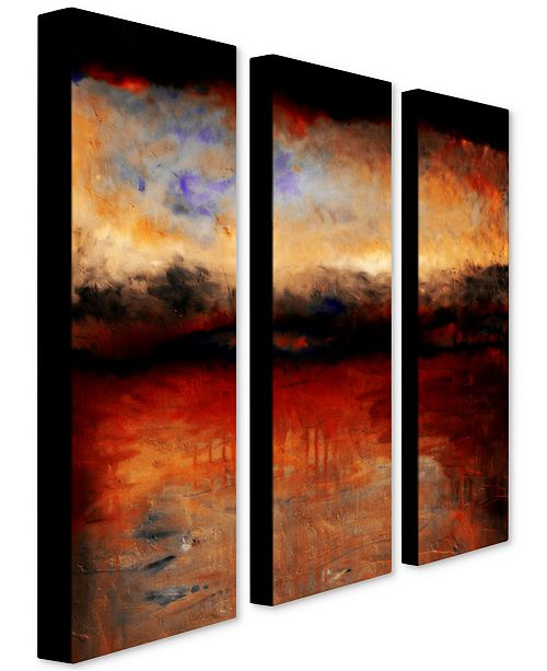 """Trademark Global Michelle Calkins 'Red Skies at Night' Canvas Art Set - 32"""" x 10"""""""