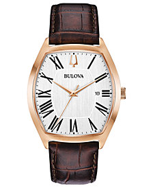 Bulova Men's Dress Brown Leather Strap Watch 37x44mm