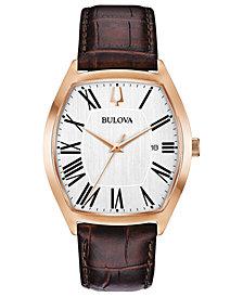 Bulova Men's Dress Brown Leather Strap Watch 37x44mm