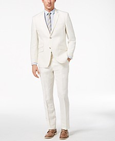 Men's Slim-Fit Stretch White Suit