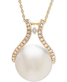 Honora Cultured White Ming Pearl (13mm) & Diamond (1/5 ct. t.w.) Pendant Necklace in 14k Gold