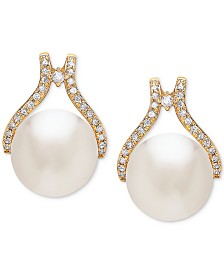 Honora Cultured White Ming Pearl (12mm) & Diamond (1/3 ct. t.w.) Stud Earrings in 14k Gold