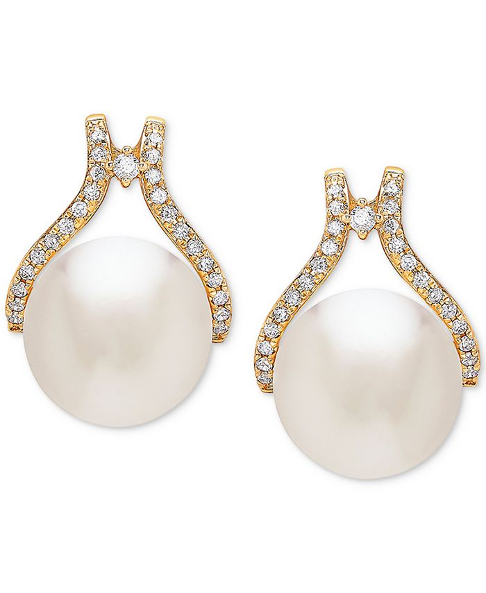Honora - Cultured White Ming Pearl (12mm) & Diamond (1/3 ct. t.w.) Stud Earrings in 14k Gold