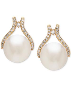 Cultured White Ming Pearl (12mm) & Diamond (1/3 ct. t.w.) Stud Earrings in 14k Gold