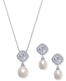 "2-Pc. Set Cultured Freshwater Pearl (7 x 9mm & 9 x 11mm) & Cubic Zirconia 18"" Pendant Necklace & Drop Earrings in Sterling Silver"