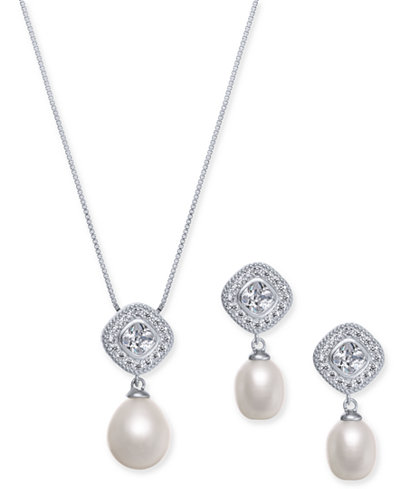 2-Pc. Set Cultured Freshwater Pearl (7 x 9mm & 9 x 11mm) & Cubic Zirconia 18