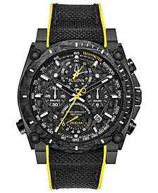 Men's Chronograph Precisionist Champlain Black & Yellow Rubber Strap Watch 46.5mm