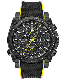 Bulova Men's Chronograph Precisionist Champlain Black & Yellow Rubber Strap Watch 46.5mm
