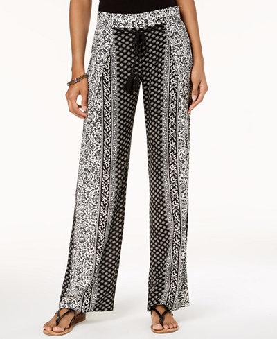 Be Bop Juniors' Printed Pleated Tassel-Tie Soft Pants