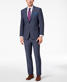 Perry Ellis Men's Slim-Fit Stretch New Blue Textured Suit