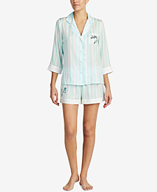 Blue by Betsey Johnson Contrast-Trim Pajama Set