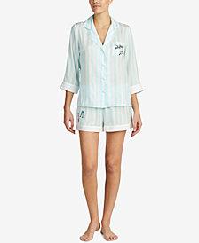 Blue by Betsey Johnson Contrast-Trim Pajama Set