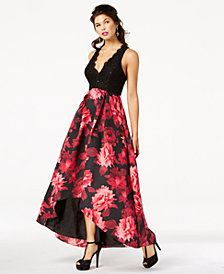 Jump Juniors' Sequined Lace & Floral-Print Gown