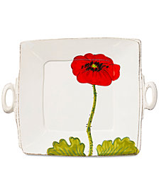 Vietri Lastra Poppy Collection Square Handled Platter