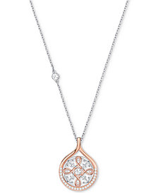 "Swarovski Two-Tone Crystal Anchor & Knot 16-1/2"" Pendant Necklace"