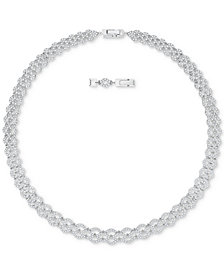 "Swarovski Silver-Tone Crystal Pavé 14-7/8"" Collar Necklace"