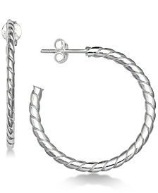"Giani Bernini Medium Twist Hoop Earrings in Sterling Silver, 1.1"", Created for Macy's"