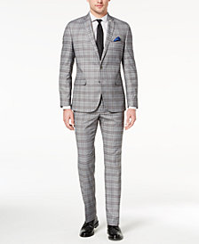 Nick Graham Men's Slim-Fit Stretch Gray/White Plaid Suit