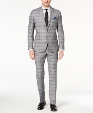 Nick Graham Men's Slim-Fit Stretch Gray/White Plaid Suit thumbnail