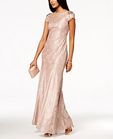 Adrianna Papell Embellished Lace Gown