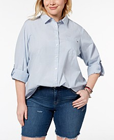 Plus Size Cotton Utility Shirt, Created for Macy's