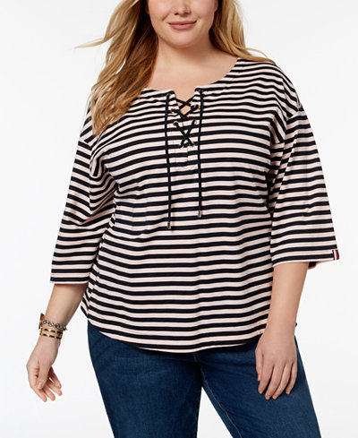 Tommy Hilfiger Plus Size Cotton Lace-Up Top, Created for Macy's