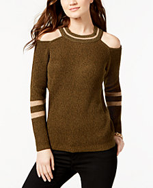 I.N.C. Petite Striped Cold-Shoulder Sweater, Created for Macy's