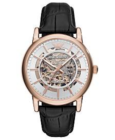 Emporio Armani Men's Automatic Black Leather Strap Watch 43mm